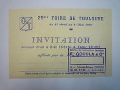 29è FOIRE De TOULOUSE  1960  -  INVITATION  à Tarif Réduit    - Chocolat
