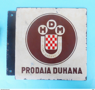 "WW2 - KROATIEN ( NDH )  "" TABAK - TOBACCO STORE "" ORIGINAL VINTAGE ENAMELED SIGN * LARGE MASSIVE EMAILLE Ustase Croatia - Werbeartikel"
