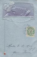 ILLUSTRATION Attribué à KIRCHNER, Femme Peignant, Carte Gauffrée, Art Nouveau - Kirchner, Raphael