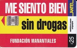 Nº 203 TARJETA SIN DROGAS DE 25$ - Uruguay