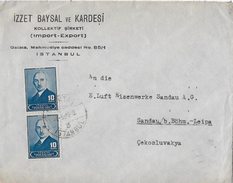 Letter Of Istanbul To Cekosluvakya → Izzet Baysal Ve Kardesi, Nice Stamps From 1948 - 1921-... République