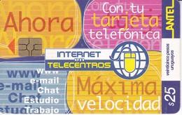 Nº 205b TARJETA INTERNET TELECENTROS DE 25$ Y FECHA 12/01 TIRADA 200000 - Uruguay