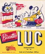 """Buvard Publicitaire Biscottes """"LUC"""" Fables De Jean De La Fontaine Le Rat De Ville Et Le Rat Des Champs - Biscottes"""