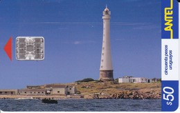 Nº 213 TARJETA DE URUGUAY DE ANTEL DEL FARO DE LA ISLA DE LOBOS 50$ (LIGHTHOUSE) - Uruguay