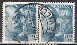 Par Sellos 30 Cts Caudillo, Fechador ALCANCE De ASEVILLA, Ferrocarril, Num 1049 º - 1931-Today: 2nd Rep - ... Juan Carlos I