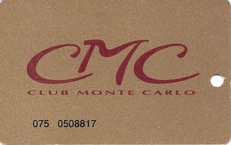 Monte Carlo Casino - Las Vegas NV - Slot Card - Temp Card With No Name - Casino Cards