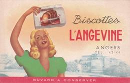 "Buvard Publicitaire Biscottes ""L'ANGEVINE "" Angers - Biscottes"