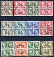 DENMARK 1961-67 King Frederik IX Definitives, 12 Values  In Used Blocks Of 4. - Denmark