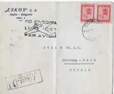 R-Letter Of SOFIA To Switzerland → ESKOS S.A. Luftpost Par Avion 1946 - Storia Postale