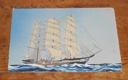 Petite Aquarelle Représentant Un Voilier. 1939 - Maritime Decoration