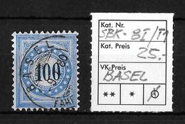 NACHPORTOMARKEN → SBK-8I Type 1 (normalstehend) BASEL   ►RRR◄ - Portomarken