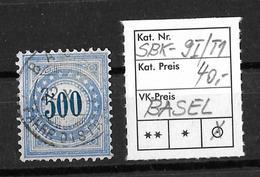 NACHPORTOMARKEN → SBK-9I Type 1 (normalstehend) BASEL   ►RRR◄ - Portomarken
