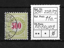 NACHPORTOMARKEN → SBK-22B Type 2 (kopfstehend) FRIBOURG  ►RRR◄ - Portomarken