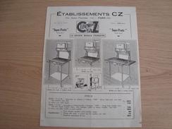 DOCUMENT PUBLICITAIRE ETABLISSEMENT CZ 154 RUE PARMENTIER PARIS - Publicités