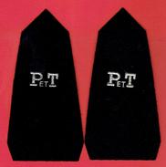 LOT 2 INSIGNES BRODES P ET T EN FIL D ARGENT SUR FEUTRINE NOIRE POUR EPAULETTE OU COL D UNIFORME POSTE FACTEUR - Militaria
