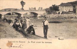 Souvenir De Hamoir - Le Pont Avant Les Travaux (animée Au Fond, Tête De Veau Dans La Main ?) - Hamoir