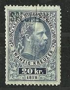 Österreich Austria 1873 Keiser Franz Joseph Telegraphenmarken 20 Kr. Muster Specimen * - Telegraphenmarken