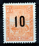 "Madagascar (French Colony), ""Zebu & Lemur"" Overprint 10/75c, 1912, MH VF - Madagascar (1889-1960)"