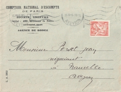 3987 RODEZ Aveyron Lettre Ob 16 2 1945 Entête Comptoir National D'Escompte 1,50 F Iris Yv 652 Perforé CN - France