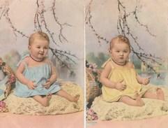 2 CPA Collection Chromatique N° 7- A. Noyer - Bébé - Filette - Babies