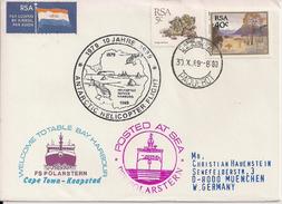 "1989 Südafrika    Antartis- Brief   ""1979 10 Jahre  1989 Antarctic Helicoter-Flight - Antarctic Expeditions"