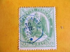 Timbre Télégraphe N°6 - 50c Vert - Oblitéré SIDI BEL ABBES ( Algérie ) Du 30 Juillet 1870 - Algeria (1924-1962)