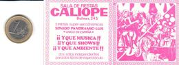 ETIQUETA   - SALA DE FIESTAS CALIOPE  -BARCELONA - Otros