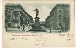 Odessa Ausgang Vom Nicolaibouklevard Und Richelieudenkmal Edit Stengel 12561 Timbrée 1901 Vers Hesdin - Ukraine