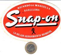 ETIQUETA   - SNAP-ON RICARDO DE MANUEL,S.A. - BARCELONA - Publicidad