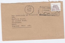 1989 Tralt IRELAND Stamps COVER SLOGAN Pmk FULL ADDRESS SPEEDS DELIVERY To GB Post - 1949-... Republic Of Ireland