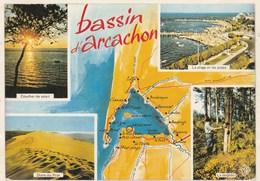 CPSM Dép. 33. Bassin D'Arcachon. Multivue Et Géographique. Ed. CAP - THEOJAC N°330234 - Arcachon