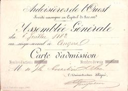 Ardoisières De L'Ouest - Carte D'Admission Assemblée Générale Juillet 1882 - France