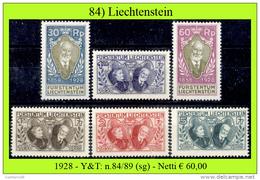 Liechtenstein-084 - 1928: Yvert & Tellier N. 84-89 (sg) NG - Privi Di Difetti Occulti. - Liechtenstein