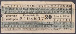 Deutsche Bundespost, Bus Fahrschein 20 Pfg., Um 1958 - Bus
