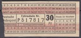 Deutsche Bundespost, Bus Fahrschein 30 Pfg., Um 1958 - Bus