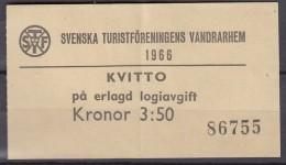 Svenska Turistföreningens Vandrarhem,  KVITTO Pa Erlagd Logiavgift, Kronor 3,50, 1966 - Vieux Papiers