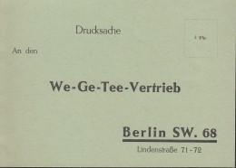 Reklamekarte Des We-Ge-Tee Vertriebs Berlin, Rückseitig Vordruck Für Die Bestellung, 1937 - Werbung