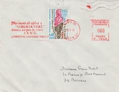 Paris 80 1970 - Coeur Ouvert & Don Du Sang Hopital Laennec - Médecine Santé Health Chirurgie Cardio - Postmark Collection (Covers)