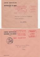 Rouen 1965 & 1971 - Hopital & Don Du Sang CHR CHU - Médecine Santé Health Chirurgie - Postmark Collection (Covers)