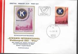 AUTRICHE   FDC  1983 Congres Mondial Et D Europe De Kiwanis International - FDC