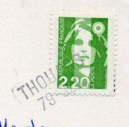 """1992--griffe Horizontale """"THOUARS  79 """" Sur Tp  Le Tout Sur Carte Postale De Lourdes - Marcophilie (Lettres)"""