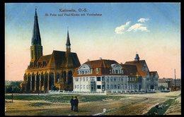 Cpa De Pologne Kattowitz O.-S. St Peter Und Paul Kirche Mit Vereinshaus   NCL83 - Polen