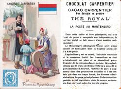 CHROMOS. Chocolat. CARPENTIER . La Poste Au Montenegro, Facteur. Timbre En Impression. ..D635 - Chocolate