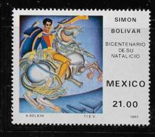 MEXICO   1983,  SCOTT #1322, SIMON BOLIVAR, M Light Hing Mark - Brésil