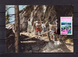 """FRANCE 1972 : Carte Maximum """" ANNEE DU TOURISME PEDESTRE """". Edit° Bourgogne. N° YT 1723. CM - Timbres"""
