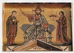 CHRISTIANITY  - AK299744 Firenze - San Miniato Al Monte - Facciata Particolare - Christo In Trono Fra La Verine E San Mi - Eglises Et Couvents