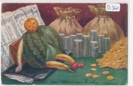 """CPA - Joli Fantaisie  """" Légumes""""  Trichrome  """" Un Nouveau Riche"""" ( Illustrateur à Identifier)( 2 Scans) - Illustrateurs & Photographes"""