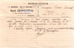 Document Du 07/02/1923 RENE DESMAZIERES Brasserie, Vins - Anzin 59 - 1900 – 1949