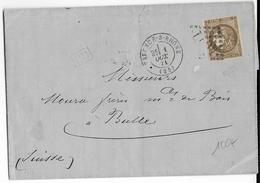 1871 - TYPE BORDEAUX - 30c Sur LETTRE De VALENCE (DROME) => BULLE (SUISSE) - COTE MAURY = 500 EURO - Storia Postale