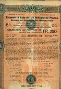 Emprunt à Lots De Un Milliard De Francs 5 % (1922) – Obligation De 250 Fr - Actions & Titres